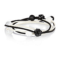 Girls black four pack crystal hair bands