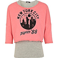 Girls pink NYC nights sweat top and vest set