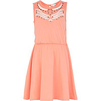 Girls orange cut out dress
