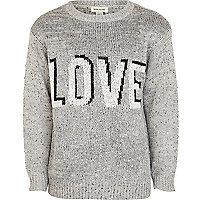 Girls grey love sequin jumper