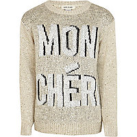 Girls cream mon cheri sequin jumper