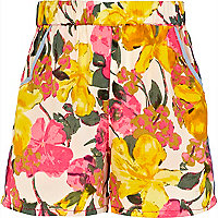Girls cream fluro flower shorts