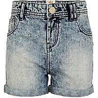 Girls blue acid wash denim shorts
