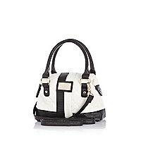Girls white quilted tote bag