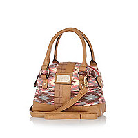 Girls brown aztec tote bag