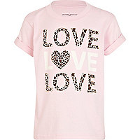 Girls pink love print t-shirt