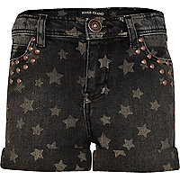 Girls grey star print denim shorts