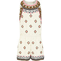 Girls cream embellished playsuit