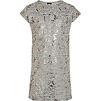 Girls grey foil print column dress