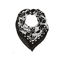 Girls cream skull and heart print scarf
