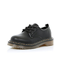 Girls black military shoes