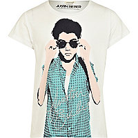 Girls white Justin Bieber embellished t-shirt