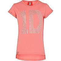 Girls coral One Direction studded t-shirt
