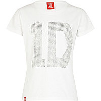 Girls white One Direction studded t-shirt