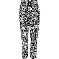 Girls black and white geometric trousers