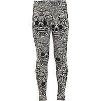Girls grey skull print leggings