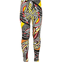 Girls black tribal print leggings
