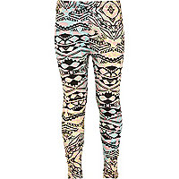 Girls black aztec print leggings
