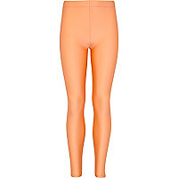 Girls light orange high shine leggings