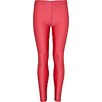 Girls pink high shine leggings