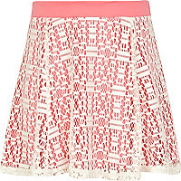 Girls cream lace skater skirt