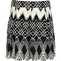 Girls black aztec print skater skirt