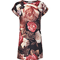 Girls red rose print dress