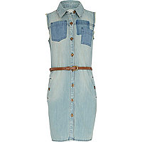 Girls blue light wash denim shirt dress