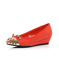 Girls red metal toe ballerina wedges