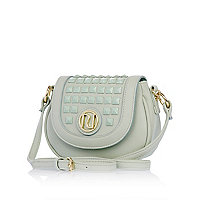Girls green studded cross body bag
