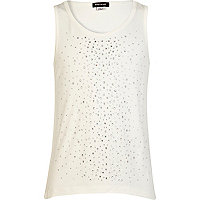 Girls cream embellished vest top