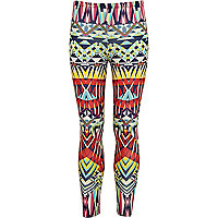 Girls red geometric print leggings
