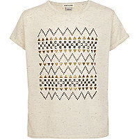Girls cream aztec embellished t-shirt