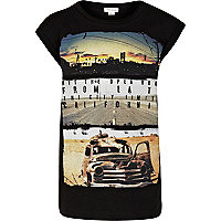 Girls black hit the road t-shirt