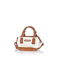 Girls white laser cut barrel bag