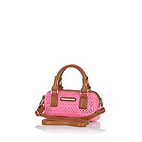 Girls pink laser cut barrel bag