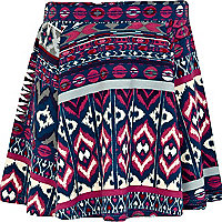 Girls purple aztec skater skirt