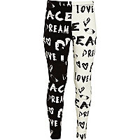Girls black love and peace print leggings