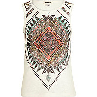 Girls white aztec print burnout tank top