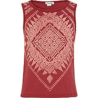 Girls red aztec print burnout tank top