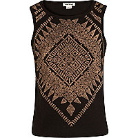 Girls black aztec print burnout tank top