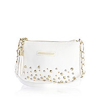Girls white studded bag