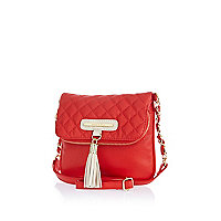 Girls red fold-over tassel bag