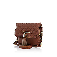 Girls brown fold over tassel bag