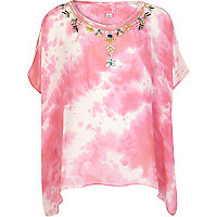 Girls pink tie dye kaftan top