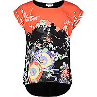 Girls red oriental print top