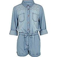 Girls blue denim shirt playsuit