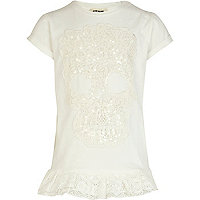 Girls cream skull embellished frill top