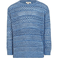 Girls blue pointelle knit jumper