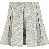 Girls grey marl box pleat skirt
